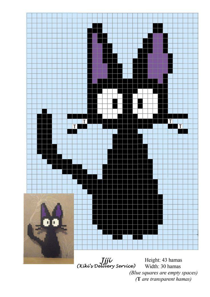 Jiji cat - Nicky aprendiz de bruja - Kiki Delivery Service - Ghibli - hama beads - pattern