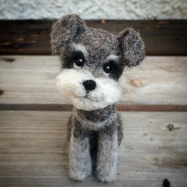 Cute Needle felted project wool animals dog Schnauzer(Via @kuufelt)