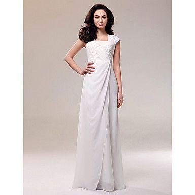 Chiffon Sheath/ Column Square Neckline Floor-length Evening Dress – Champange- cut to knee length- wedding?