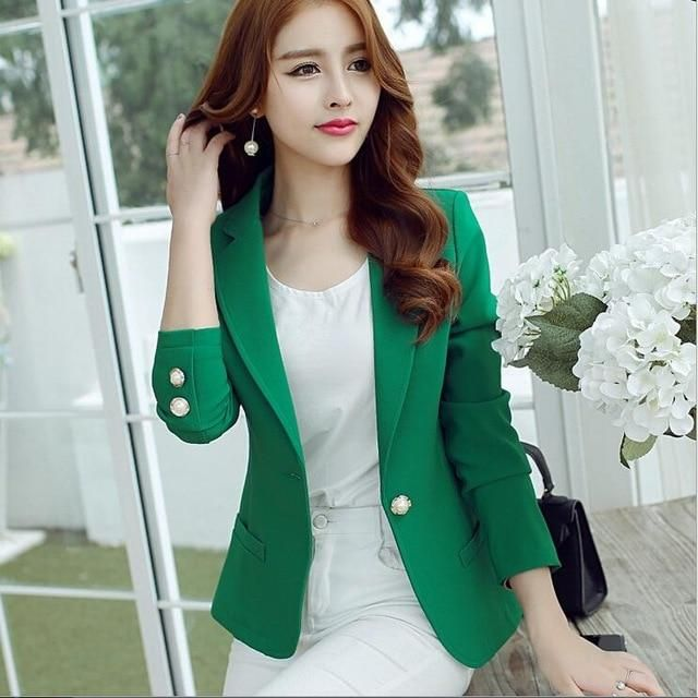 2111765260a Buy Women Wear to Work Office Casual 1-Button Solid Suit Blazer Jackets at  narvay.com.Formal Blazers Online For Women s Clothing Self Design Single  Breasted ...