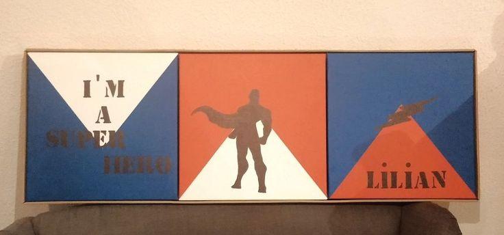 triptyque cadres chambre enfant super heros superman avengers comics bd prénom