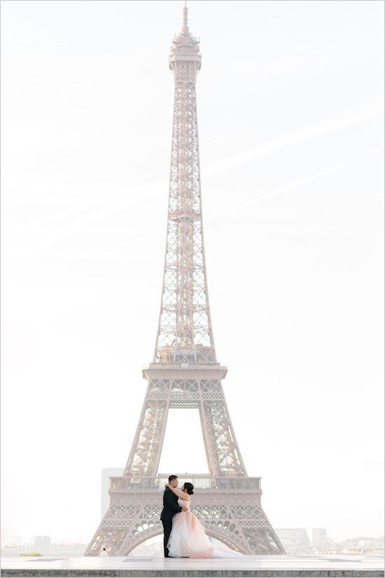 vow renewal in France   eiffel tower portraits   Chateau de Versailles wedding   pink wedding gown   #weddingchicks