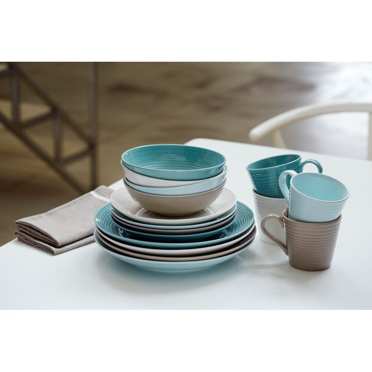 I just picked up this set in blue, taupe, and white and I love it! -- Gordon Ramsay by Royal Doulton Maze Schaal 18 cm Set van 4 - Teal