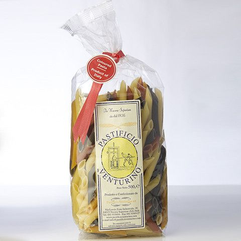 Premium artisan pasta is generally coloured for celebratory appeal. Artisan-made pasta since 1856 by the Venturino family in Campania.
