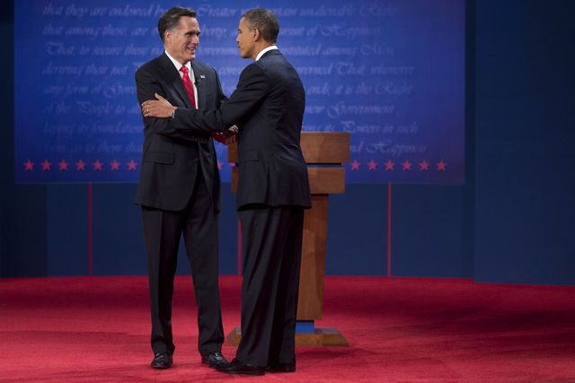 #26 Oct. 3-Romney Won First Debate, 67 Percent of Voters Tell CNN;    Mitt Romney, Republican presidential candidate, left, shakes hands with U.S. President Barack Obama following a presidential debate at the University of Denver in Denver, Colorado, on Wednesday, Oct. 3, 2012. Andrew Harrer/Bloomberg