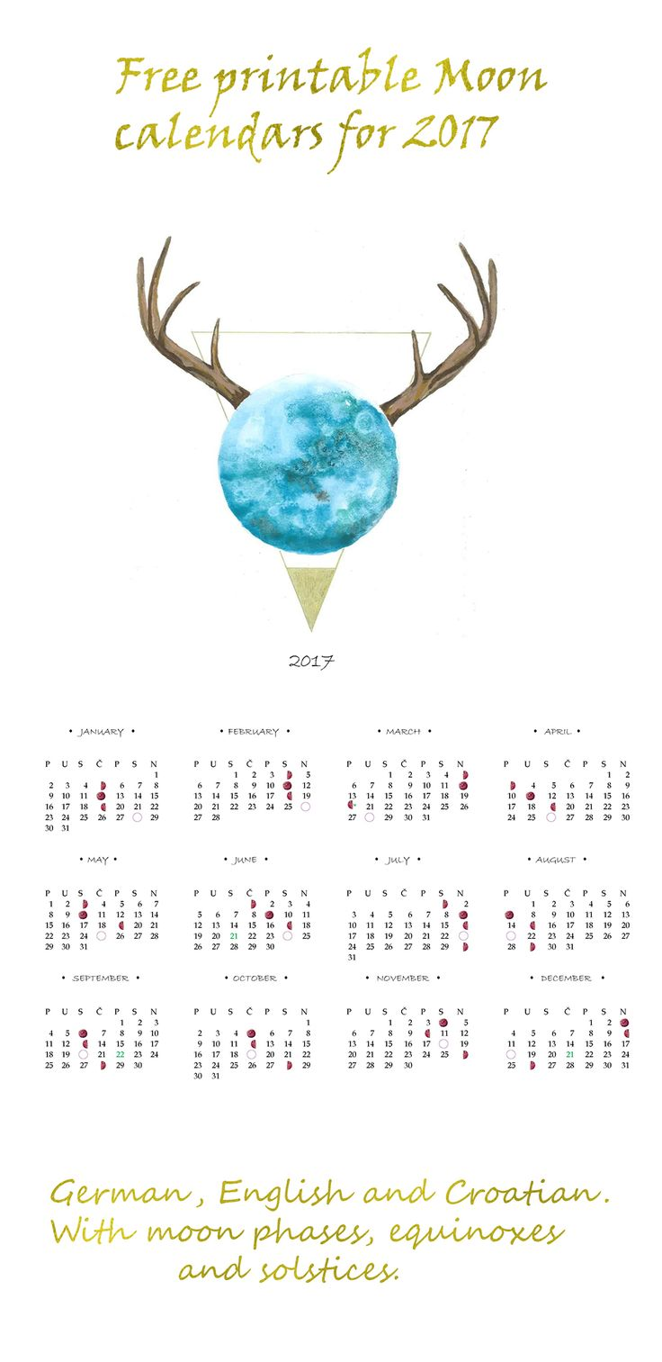 Free printable moon phases calendar for 2017. Equinoxes and solstices are in green, holidays in red. In German, Croatian and English. The week starts with a Monday and the names are in Croatian for a bit of an exotic, Slavic flair. Hope you like it!  #watercolor #calendar #printable #free #moon #moon calendar #moon phases #solstice #equinox #art #2017