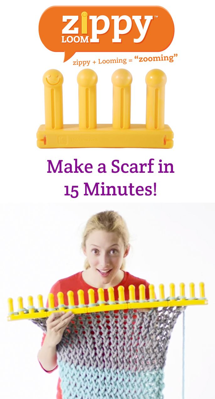 Knit a scarf in just 15 minutes with Zippy Loom. #zooming
