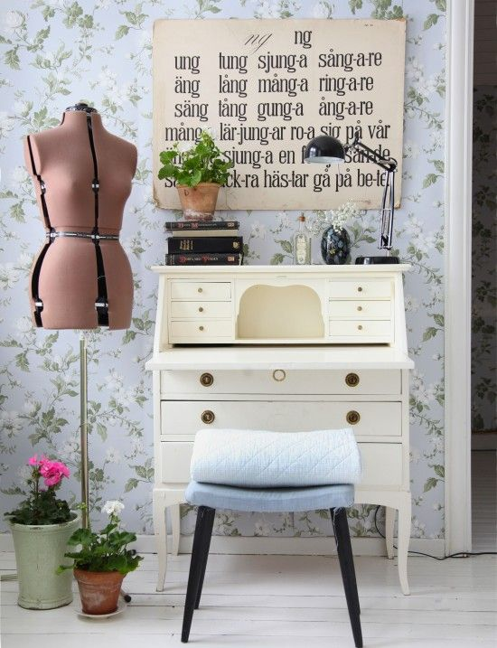 Workspace with floral wallpaper