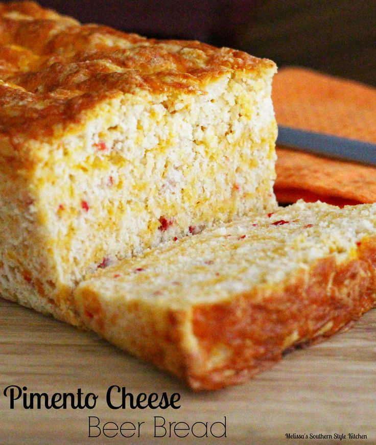 Homemade Pimento Cheese Beer Bread makes an over-the-top grilled cheese sandwich or enjoy it warm slathered with butter.