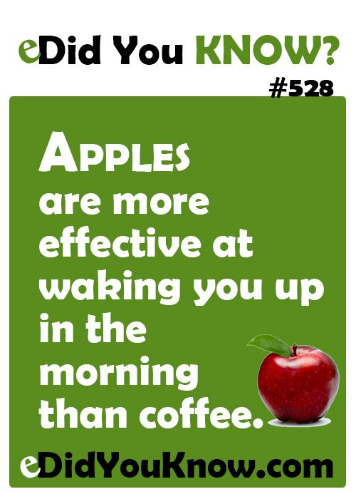 Apples are more effective at waking you up in the morning than coffee.  eDidYouKnow.com