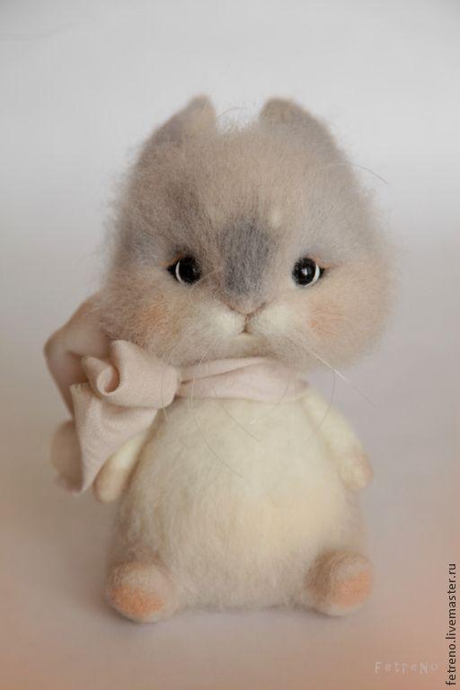 Купить Игрушка из войлока. Зайка-попрыгайка. - разноцветный, зайка, заяц, игрушка из войлока, игрушка из шерсти