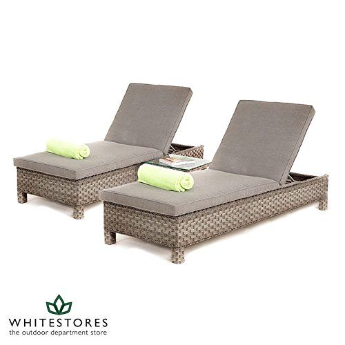 Awesome All Weather Victoria Outdoor Rattan Garden Furniture Sun Lounger Set u Grey Rattan Furniture
