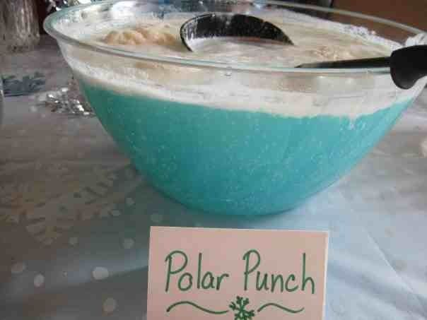 """polar punch"" for winter onederland party! Sherbet, sprite, blue kool aid, white cranberry or grape juice."