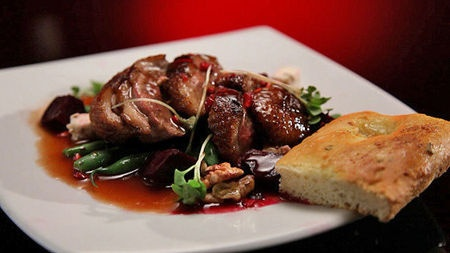 Duck salad with beetroot, pomegranate and redcurrant vinaigrette