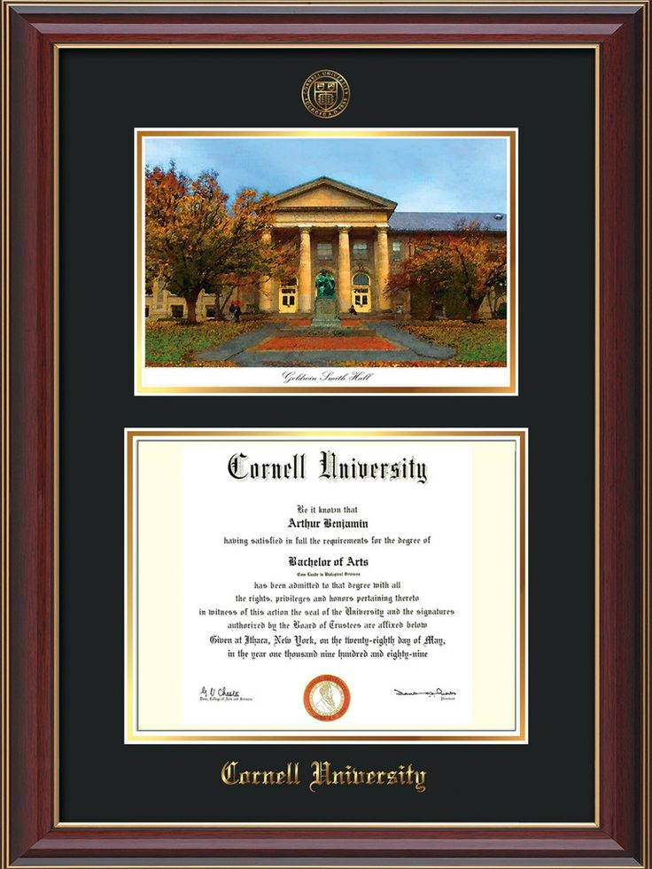 Cornell U Diploma Frame-Cherry Lacquer-Goldwin Photo-Black on Gold mat – Professional Framing Company
