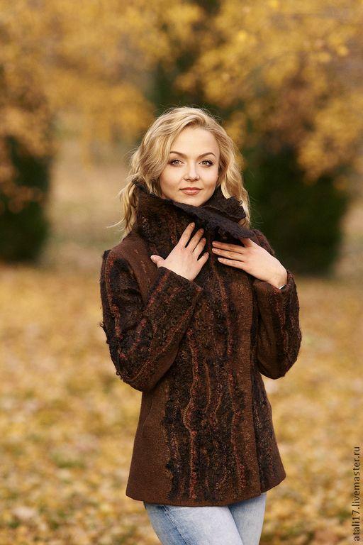 Купить Жакет Кофе с корицей-войлок - жакет из войлока, жакет валяный, валяная одежда