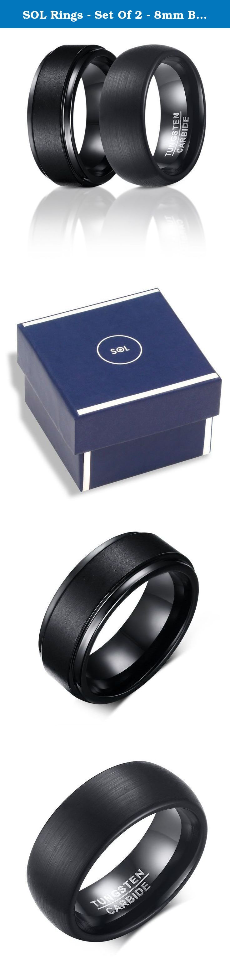 SOL Rings - Set Of 2 - 8mm Black Tungsten Carbide Wedding Rings For Men, 1 Matte Center and Step Edge Band and 1 Enamel Domed Round Brushed Band, Comfort Fit, Size 9. At SOL Rings we are commited to provide the best quality rings and customer service. Our rings are cobalt free and nickel lead-free. With us you are in good hands. Few tips for meintenance: 1. Cleaning - simply mix warm water with a few drops of mild soap. It is best to avoid using an ultrasonic jewelry cleaner when cleaning...