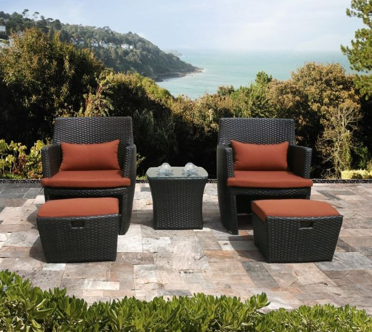 Outdoor Wicker Patio 5 PC Balencia Bistro Set Chairs Ottomans Furniture