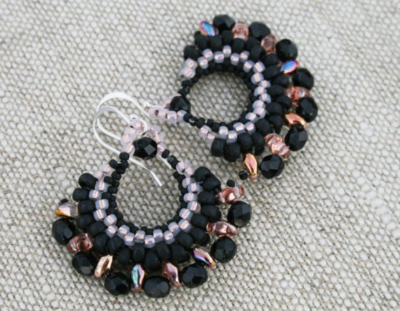 hoop black earrings dangle black earrings statement