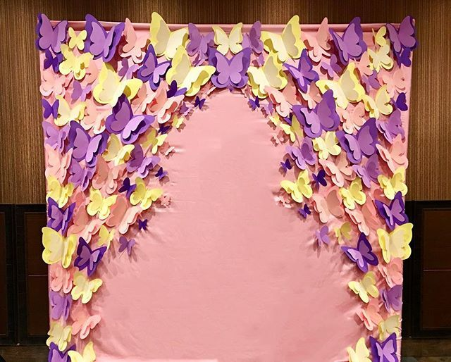 And here it is  butterfly backdrop for a baby shower  #paperbutterflies #eventdesign #partydesign #eventdecor #partydecor #paperdecor #paperdsign #papercraft #butterflybackdrop #butterflywall #babyshower #itsagirl #purple #yellow #pink #elegantpaperblossoms
