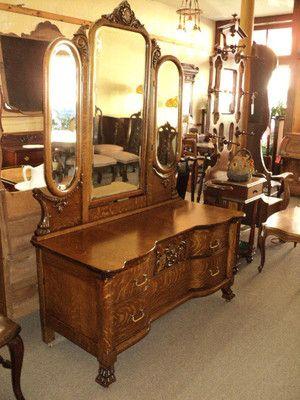 Quarter Sawn Oak Vanity Dresser W 3 Beveled Mirrors Ebay Antique Furniture Vanities And