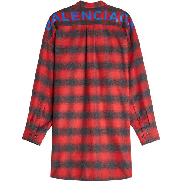 New Swing Printed Cotton Shirt Balenciaga ($980) ❤ liked on Polyvore featuring tops, red plaid top, plaid shirts, cotton shirts, red plaid shirt and tie shirt