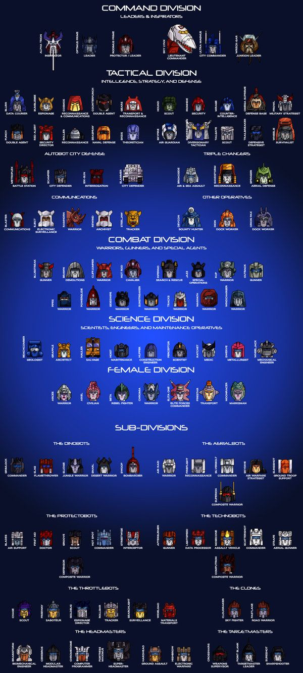 THE AUTOBOT HIERARCHY Revised December 31, 2009 This is my vision of a relatively uncomplicated organizational Autobot chart. As it includes every single named Autobot, some of them could be consid...