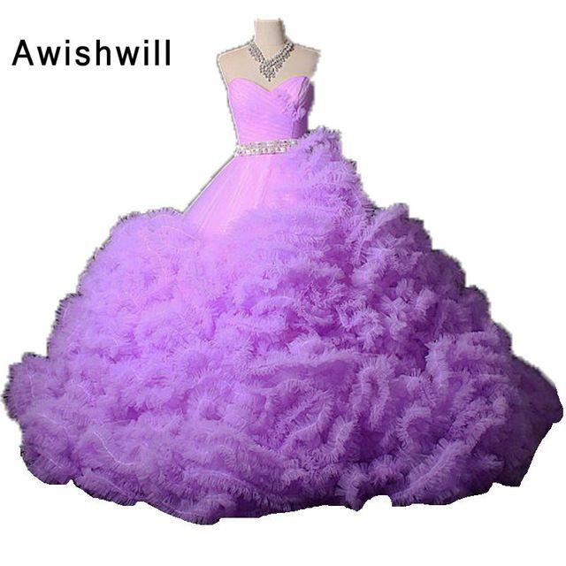 Moda Sevgiliye Dantel-up Geri Boncuklu Tül Bulut Puf Balo Pageant Elbise Özel Durum Gelinlik Kadınlar Abiye