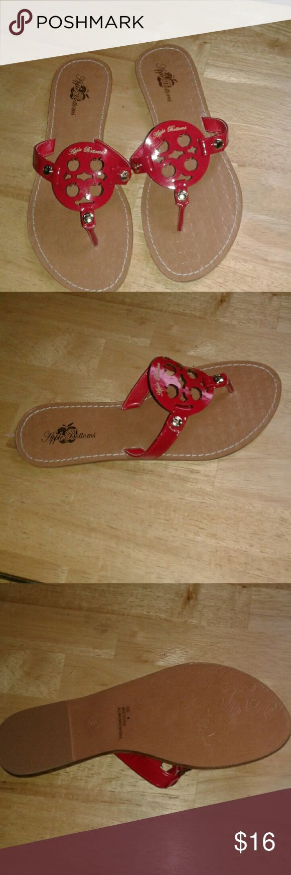 LADIES SLIP ONS RED LADY SLIP ONS,  NEVER WORN CUTE JUST THROW THEM ON AND OUT THE DOOR!! Apple Bottoms Shoes Flats & Loafers