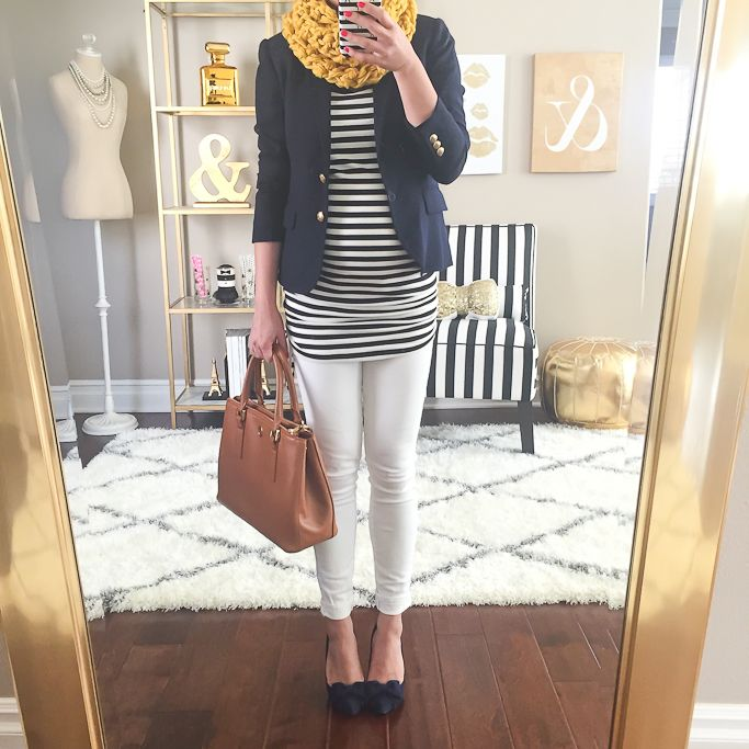 StylishPetite.com | Striped tunic, mustard cowl neck scarf, camel purse, navy bow pumps, navy blazer, fall outfit, maternity outfits, pregnancy outfits, petite pregnant