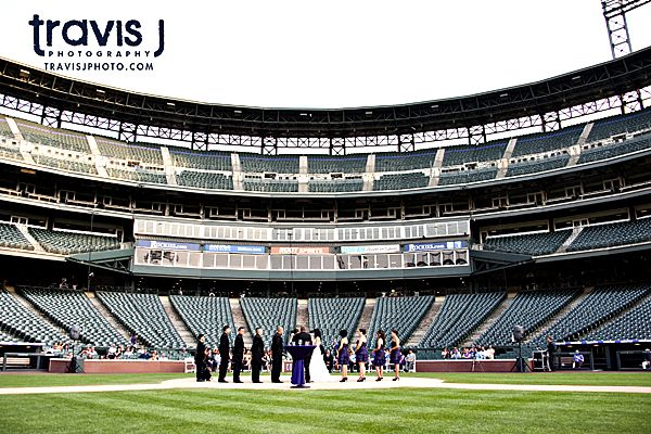 Coors Field Wedding Ceremony at Home Plate, Travis J Photography, Colorado