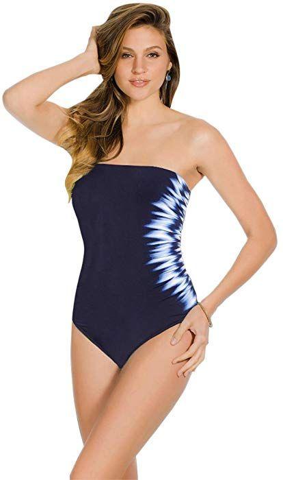 b653a2b23b7 Miraclesuit Midnight Sound Wave Long Torso Avanti Underwire One Piece Swimsuit  Size 14L Blue