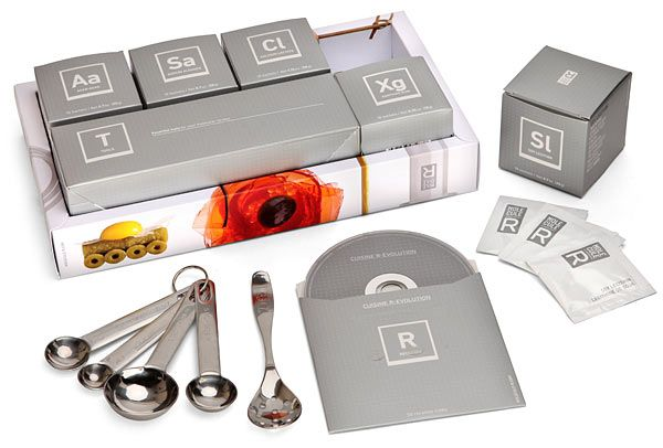 """Molecular Cuisine Kit    Starter set:  5 sets of food-additives:  Agar-agar - 10 sachets of 20g each  Calcium Lactate - 10 sachets of 20g each  Sodium Alginate - 10 sachets of 20g each  Soy Lecithin - 10 sachets of 20g each  Xanthan Gum - 10 sachets of 10g each  1 set of tools:  1 syringe  5 pipettes  3 lengths of 18"""" silicone tubing  1 slotted spoon  1 set of measuring spoons  1 DVD with 50 recipe demonstrations included"""
