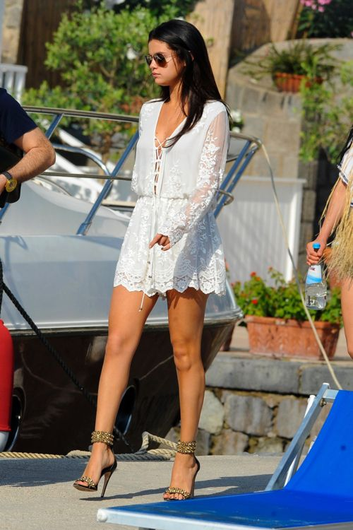 Selena Gomez Summer Street Style With White Dress And