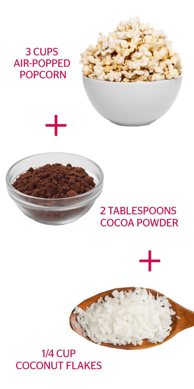 How much you should eat: 3 cups + 2 tablespoons + 1/4 cup (10 grams) The sweetest news we've heard all day: Each tablespoon of cocoa powder packs in 2 grams of fiber, Blatner notes. Dust your serving of naturally whole-grain popcorn with cocoa and cholesterol-lowering coconut.    - Redbook.com
