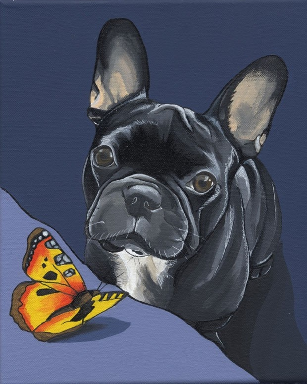 French Bulldog with Butterfly Painting 21X30cm by blackspecs, €150,00