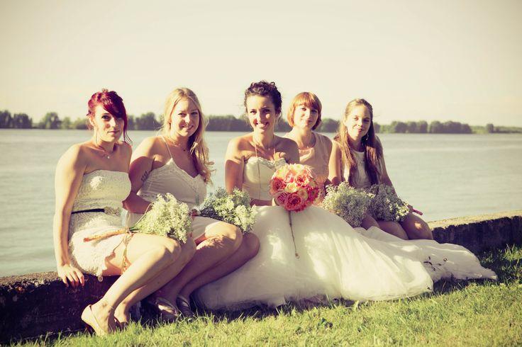 outdoor ceremony, bridesmaids, bride, groom, garden, wedding