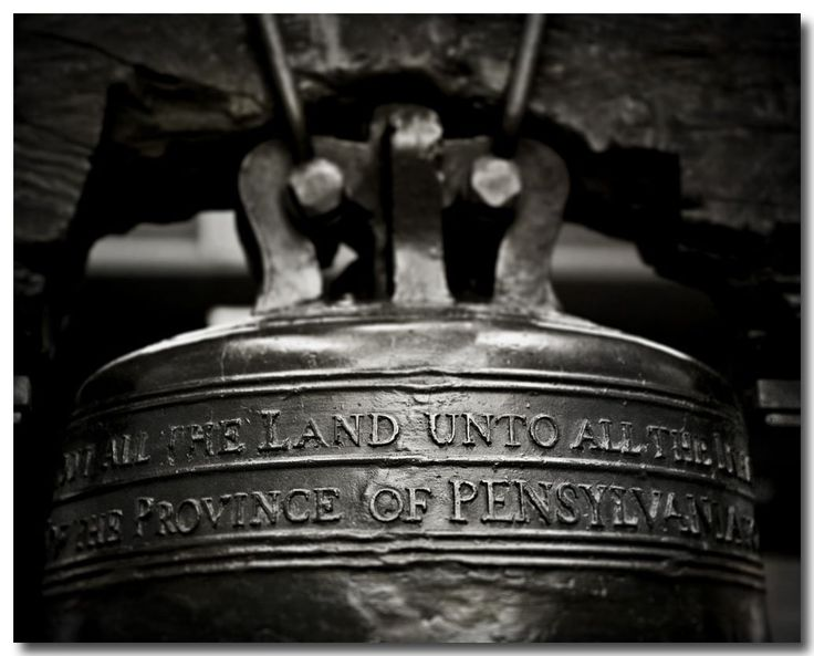 """Liberty Bell Photograph, Black and White Art, Philadelphia Decor, American Photo. Unframed horizontal black and white liberty bell photograph. • Borderless fine art photograph with a soft luster finish. • Available in sizes 8x10 through 30x40 (Click """"Select Options"""" menu to choose). • Watermark does not appear on final photograph."""