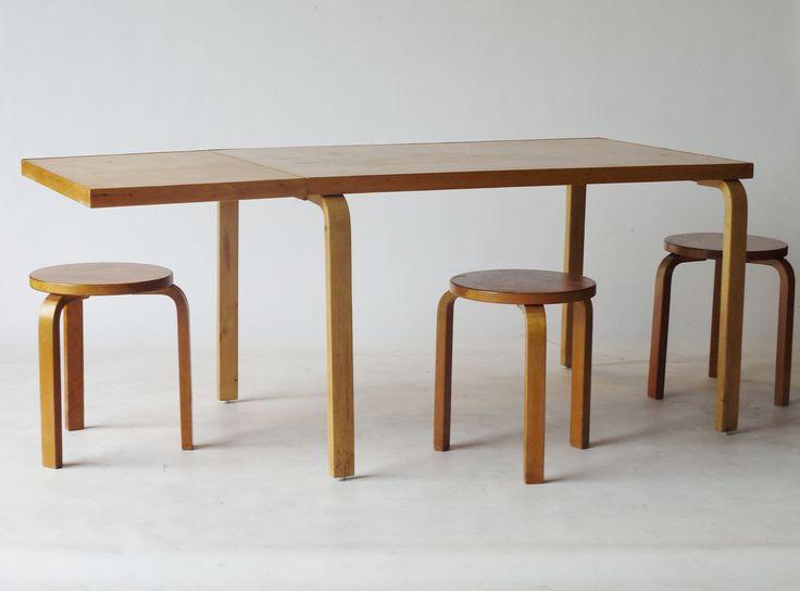 Alvar Aalto 1930s/40s table & stools. Available at Merzbau.