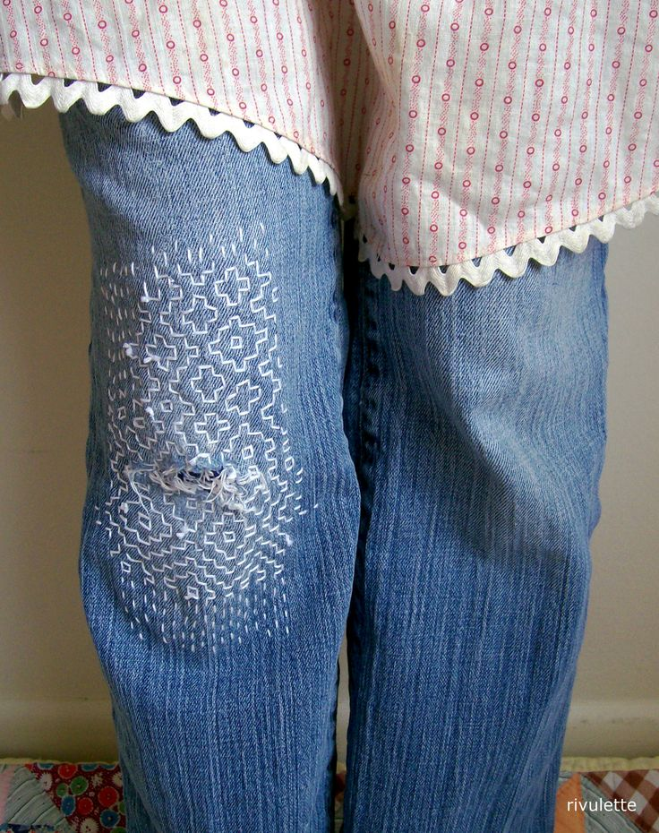 denim jeans knee repair with sashiko stitching