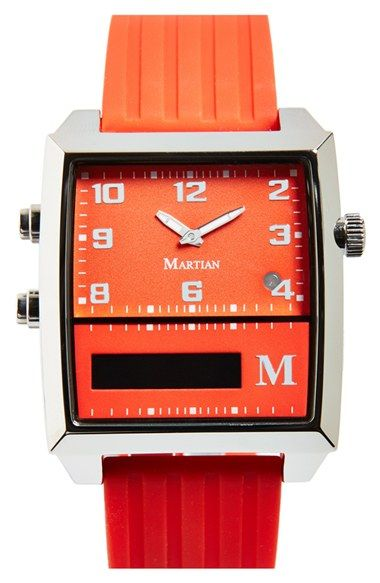 Martian Watches 'G2G' Rectangle Voice Command Silicone Strap Smart Watch, 37mm x 39mm
