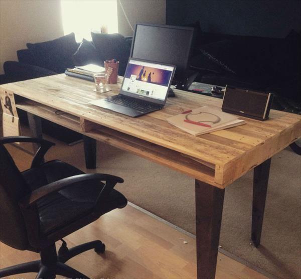 DIY Reclaimed Pallet Computer Desk Designs