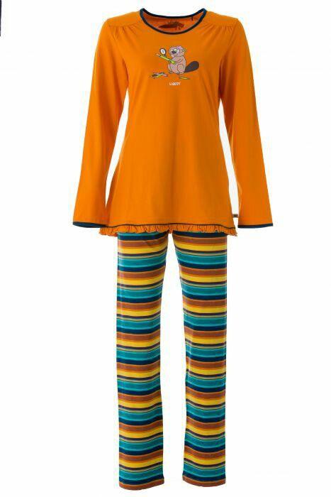 Oranje Woody-pyjama van de bever met streepjesbroek. Kijk op woody.be voor verkooppunten. (Collecties zijn gelimiteerd.)