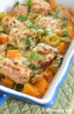 Slimming World Chicken Leek and Butternut Squash Bake