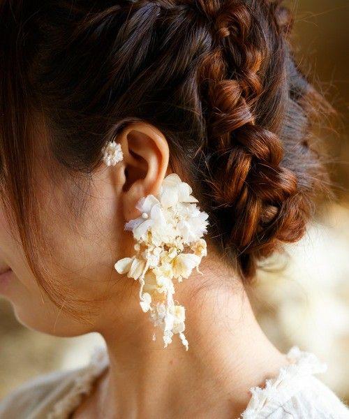 wedding(ウェディング)のツルレースと小花のイヤーカフス(イヤリング) ホワイト