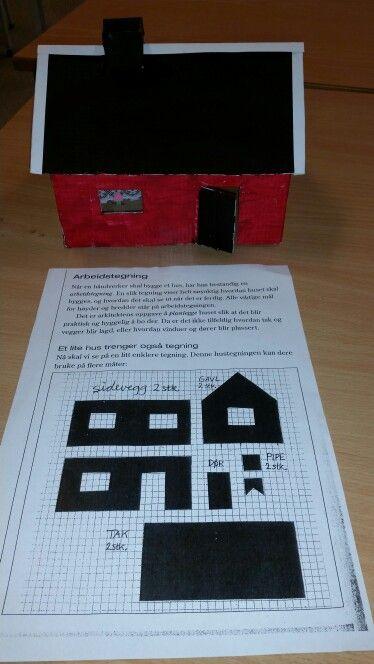 Vi har laget flotte hus etter arbeidstegning. Matte+ kunst og håndverk =gøy!