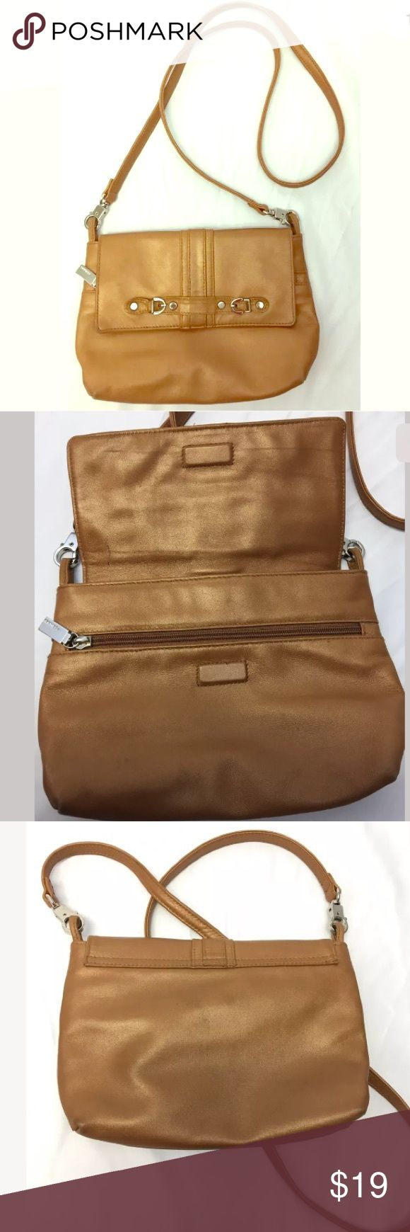 """Perlina Leather Shoulder Bag Vintage Perlina Camel Brown Tan Tone Leather Shoulder Bag Purse; Gently used condition with minor corner wear and small pen mark to inside top flap- see last photo for details; cute small sized bag! Measures approx 6-1/2"""" tall, 9"""" long with a 23"""" strap drop; Perlina Bags Shoulder Bags"""