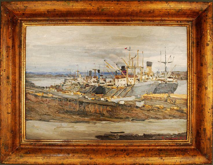 Ivan Sorokin (1922-2004), Port Igarka, Oil on Panel