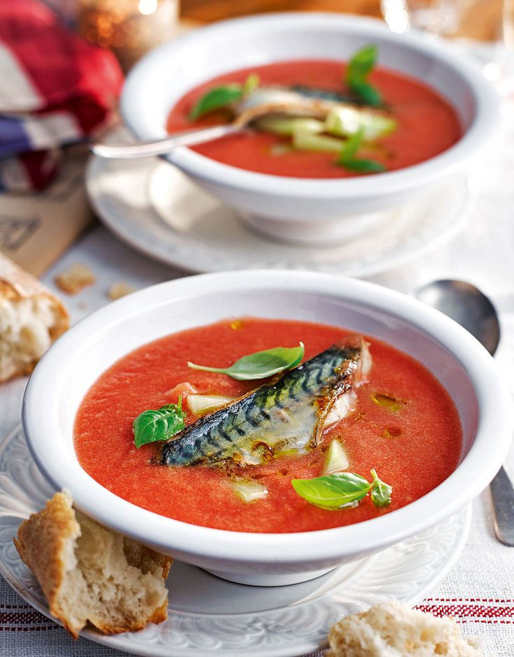 Michel Roux Jr's recipe for chilled tomato soup with grilled mackerel makes a wonderful summertime starter.
