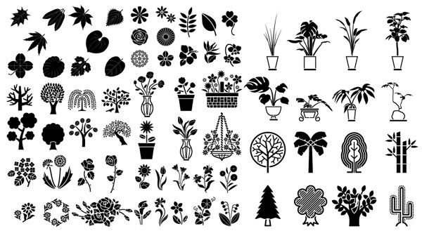 Silhouette of tree of flowers and plants